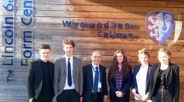 Wymondham College students with Nigel Cushion